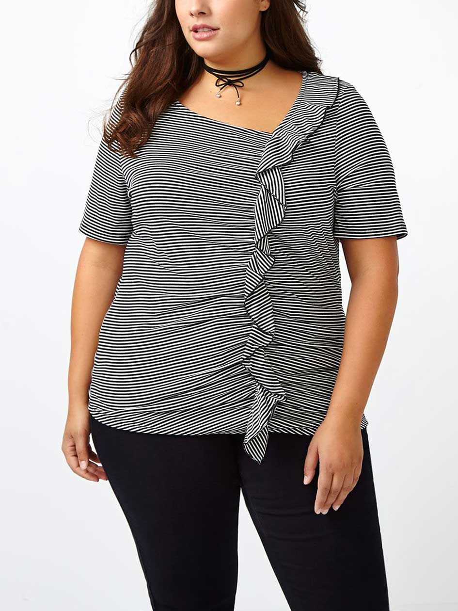 Short Sleeve Striped Ruffled Top