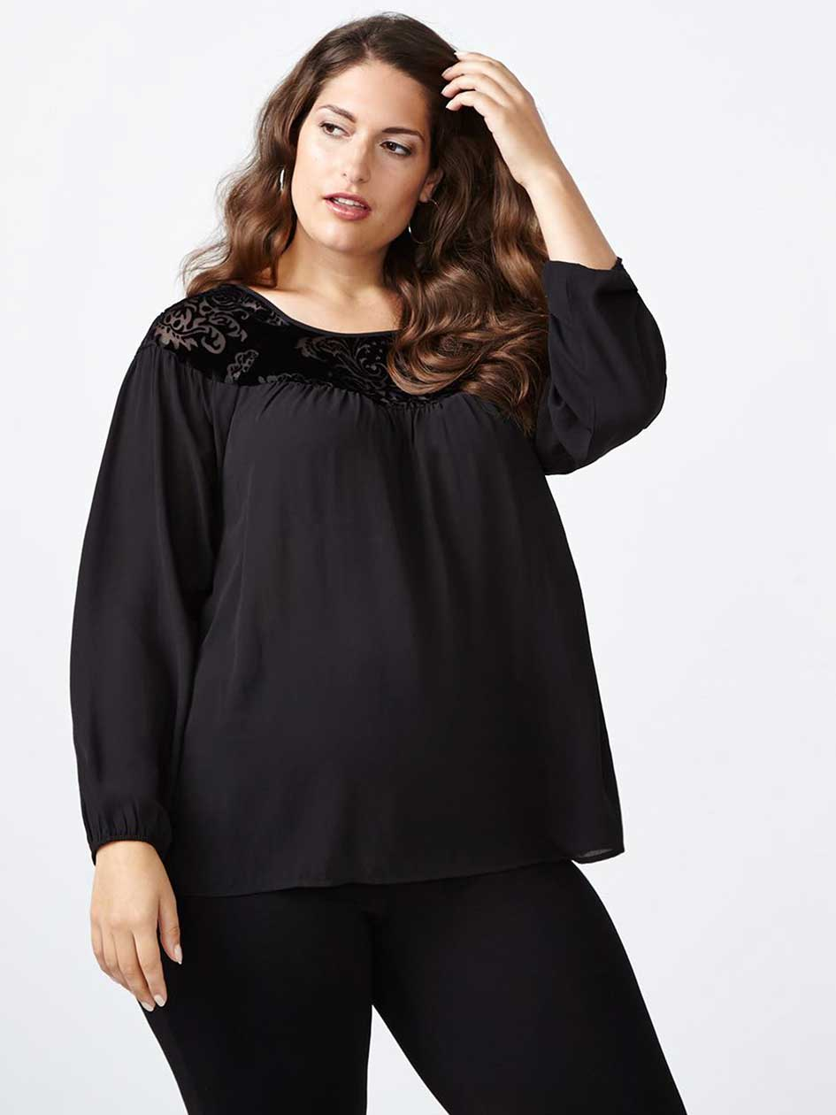 Long Sleeve Blouse with Velvet