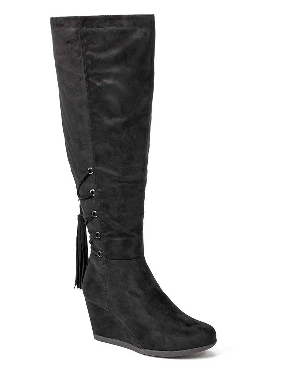 Wide-Width Faux-Suede Wedge Boots