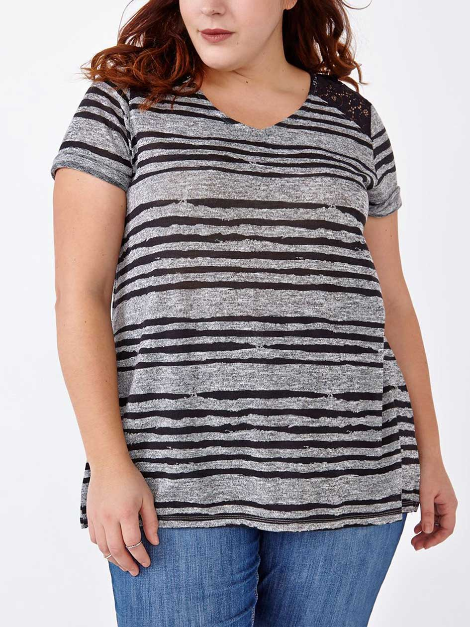 Relaxed Fit Striped T-Shirt with Lace