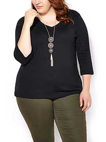 Shaped Fit 3/4 Sleeve T-Shirt