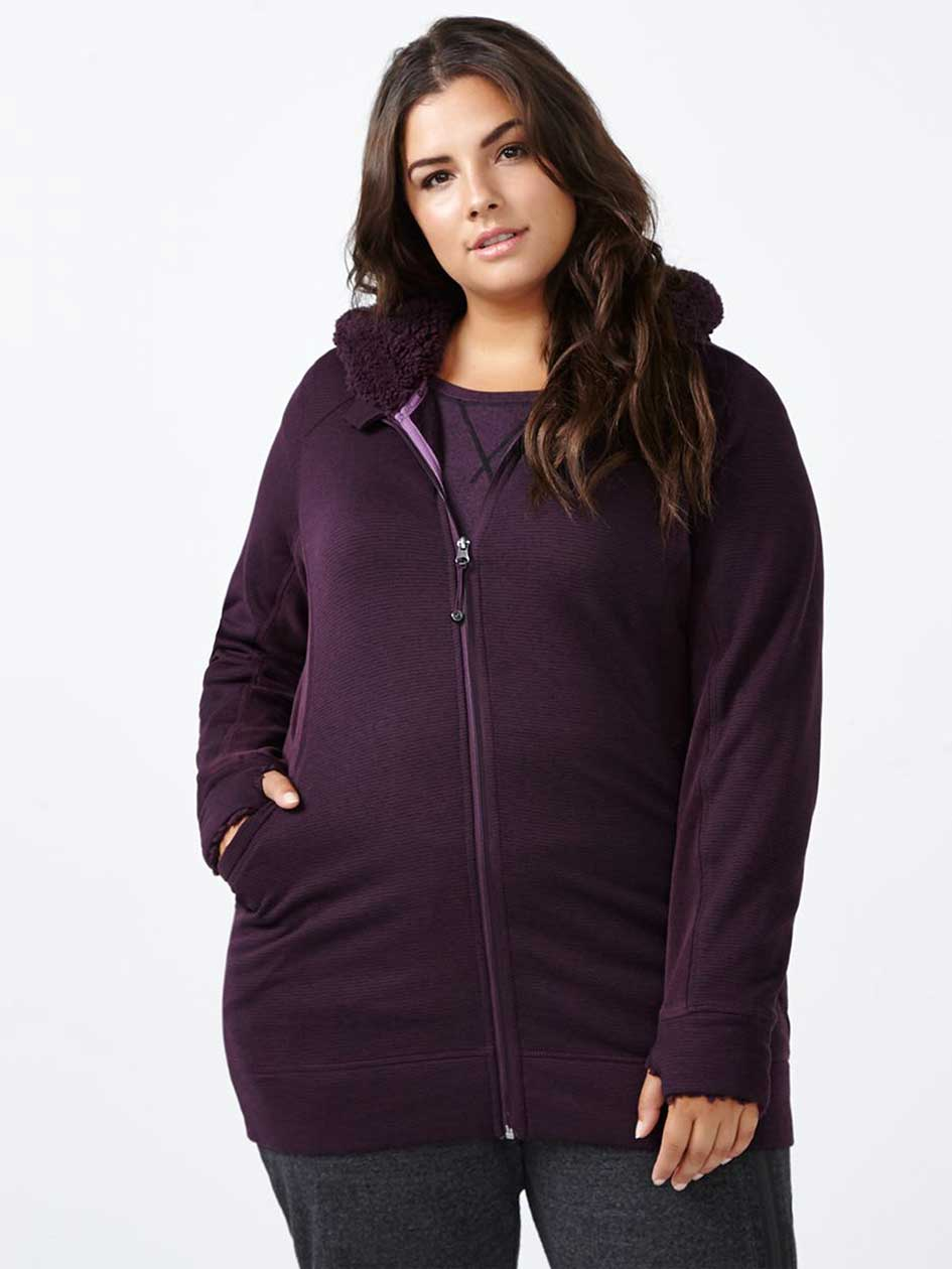 Sports - Plus-Size Fleece Hoodie with Sherpa