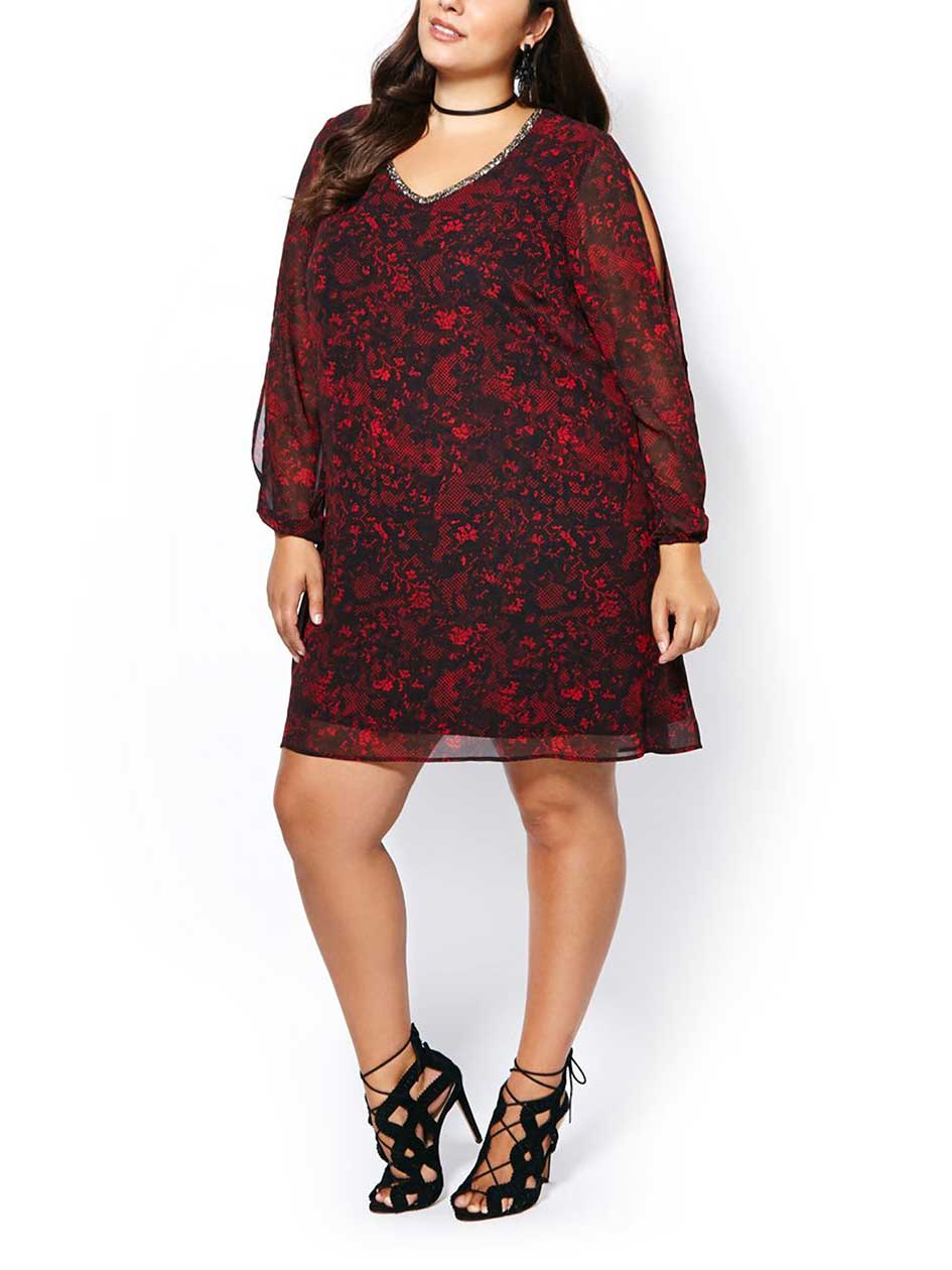 Long Sleeve Printed Chiffon Dress
