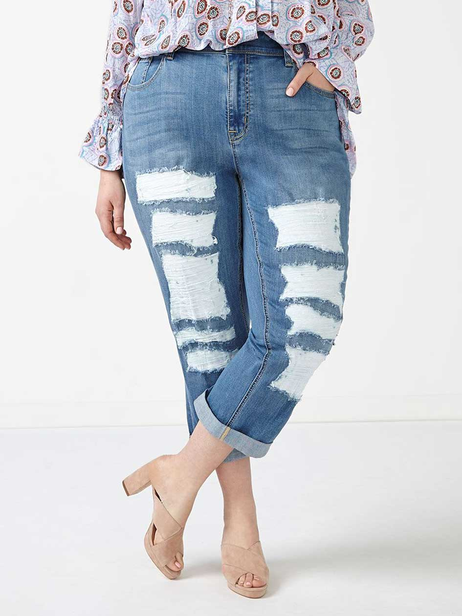 MELISSA McCARTHY Cropped Distressed Girlfriend Jean