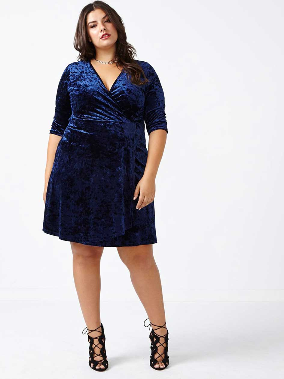 Velvet Wrap Dress with 3/4 Sleeves