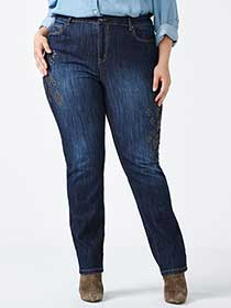 d/c JEANS Slightly Curvy Fit Straight Leg Embellished Jean