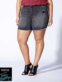 Tess Holliday - Grey Distressed Denim Short