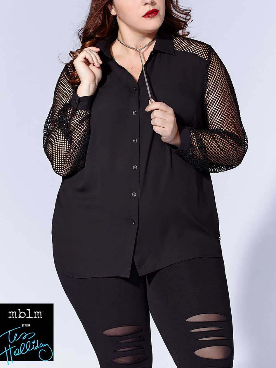 Tess Holliday - Long Mesh Sleeve Blouse