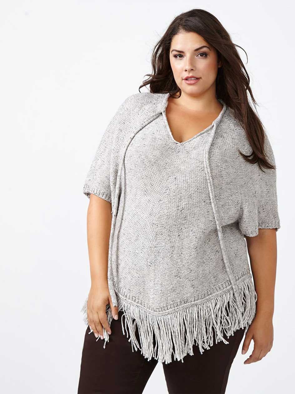 d/c JEANS Fringed Poncho Sweater