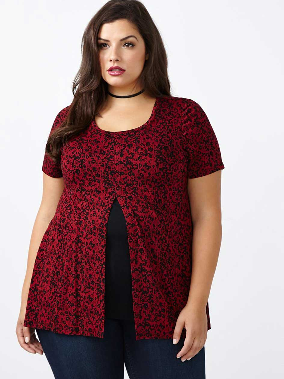 Short Sleeve Printed Top with Opening