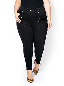 MELISSA McCARTHY Pencil Jean with Golden Zippers