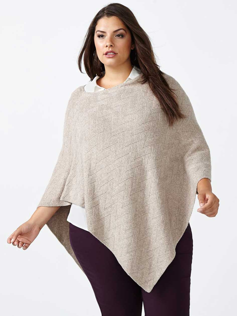 Textured Sweater Poncho
