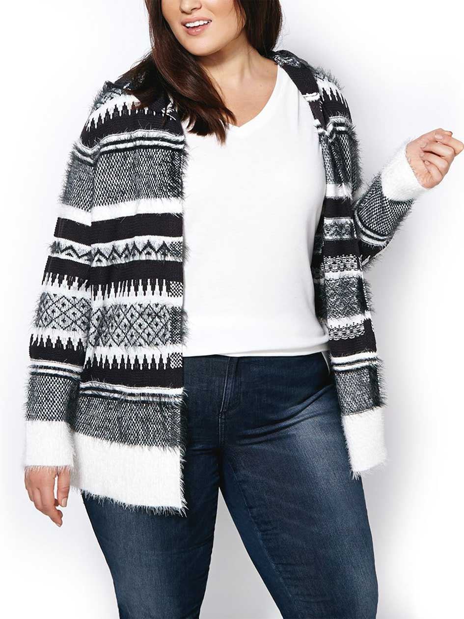 Long Sleeve Patterned Hooded Cardigan