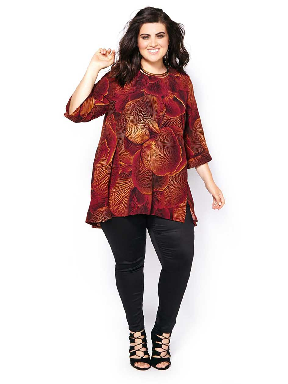 MELISSA McCARTHY Elbow Sleeve Printed Top