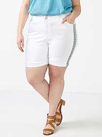 d/c JEANS Slightly Curvy Fit Embroidered White Denim Short