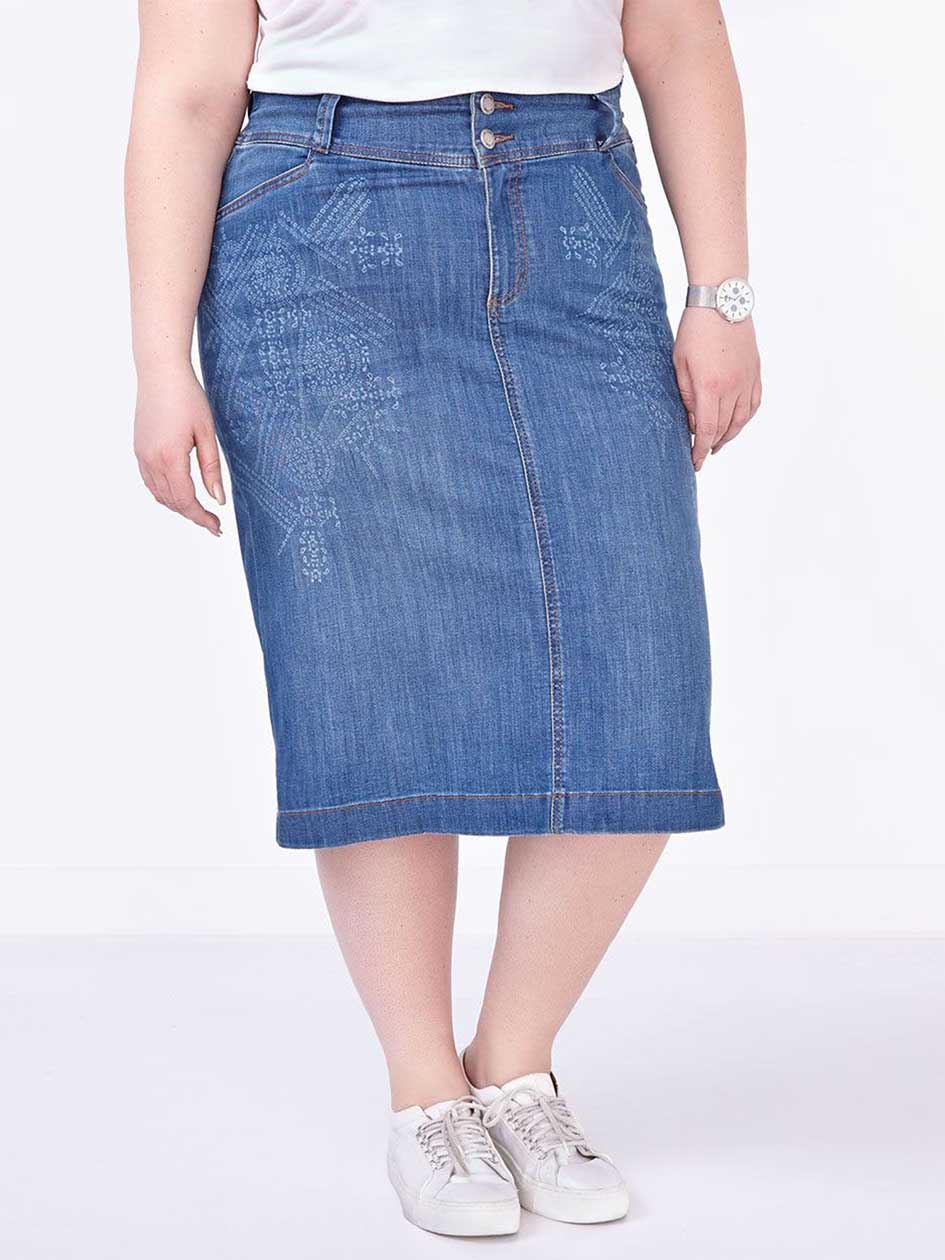 d/c JEANS Printed Denim Pencil Skirt