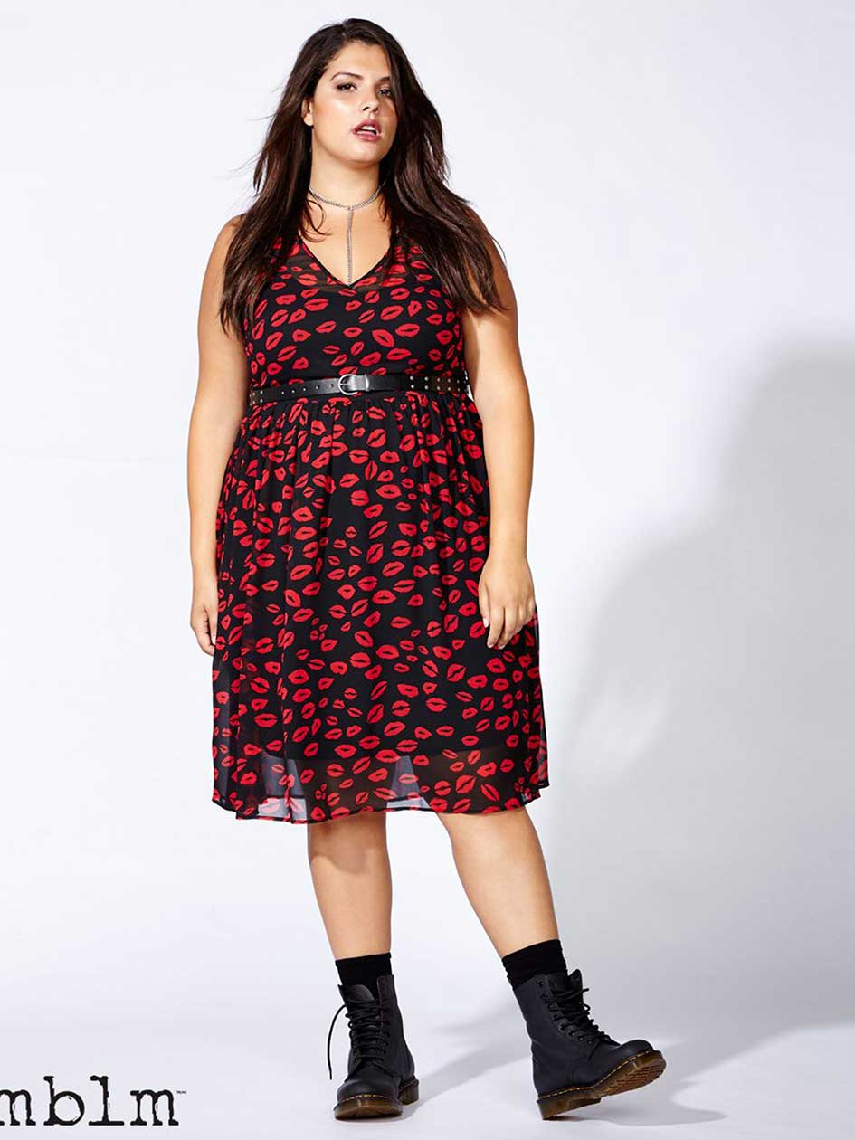 mblm Sleeveless Kiss Print Dress