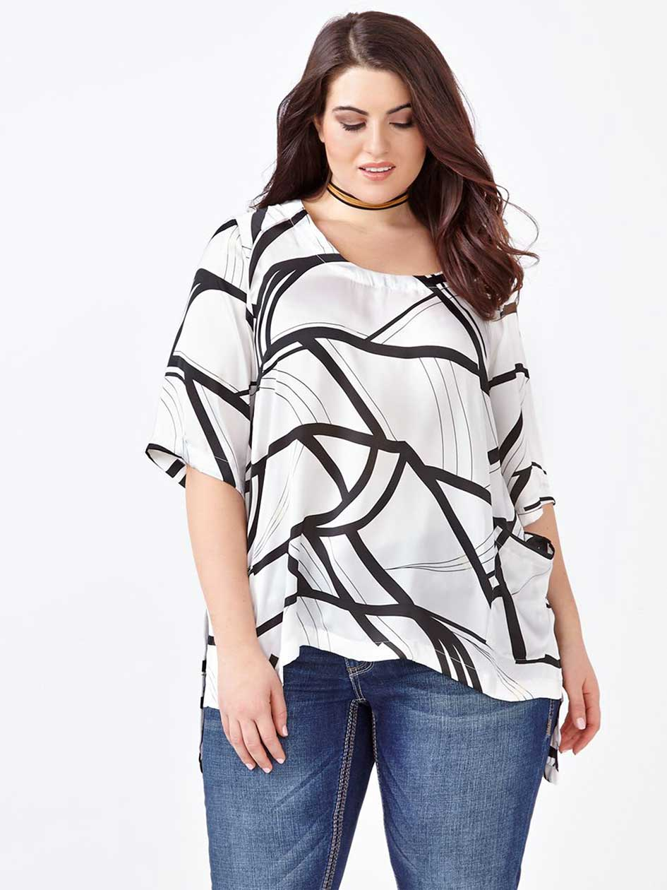 MELISSA McCARTHY Elbow Sleeve Printed Blouse