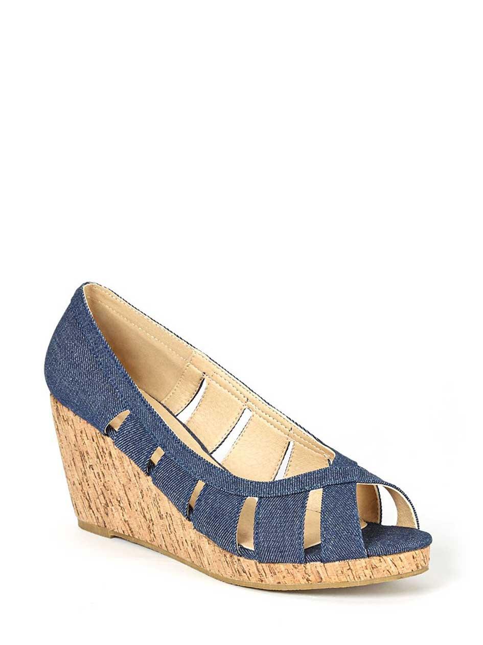 Wide-Width Open Toe Denim Wedge Shoes | Penningtons