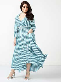 MELISSA McCARTHY Striped Wrap Maxi Dress