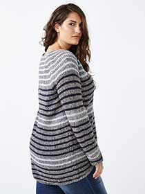 d/c JEANS Long Sleeve Striped Knit Sweater