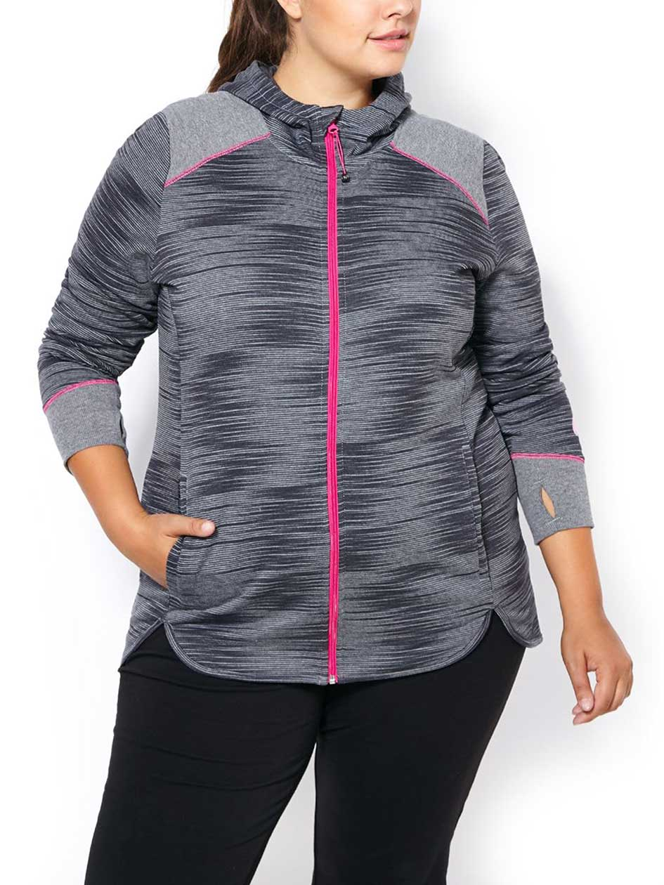 Essentials - Plus-Size Printed Zip Up Hoodie