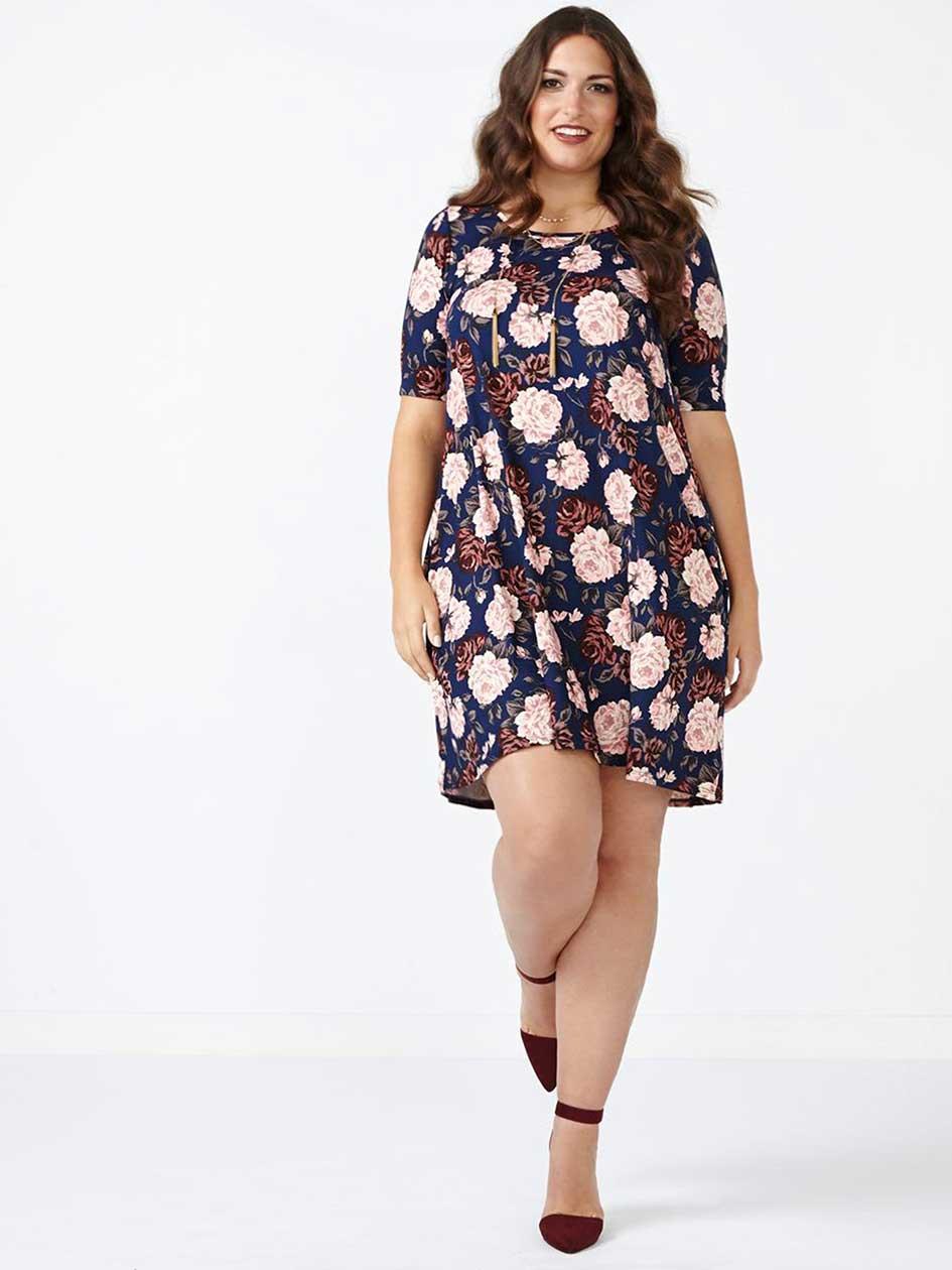 ONLINE ONLY Short Sleeve Floral Print Dress