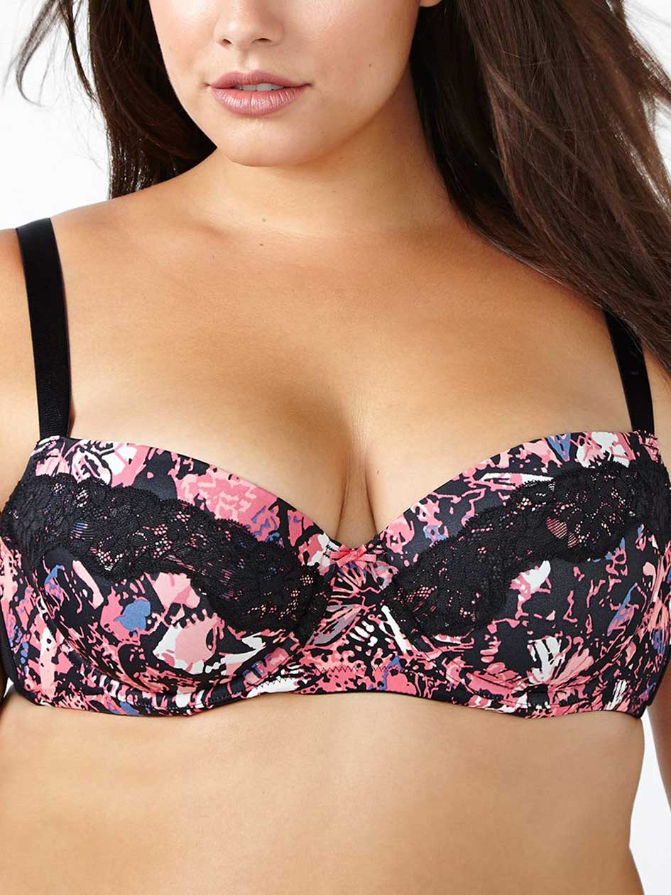TI Voglio Printed Padded Demi Bra with Lace