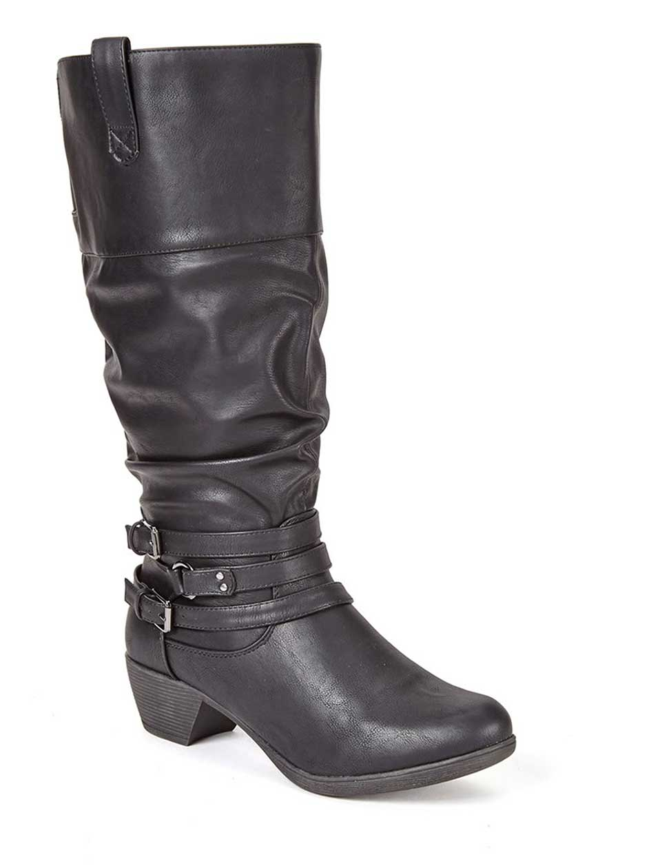 Wide-Width Tall Faux-Leather Boots