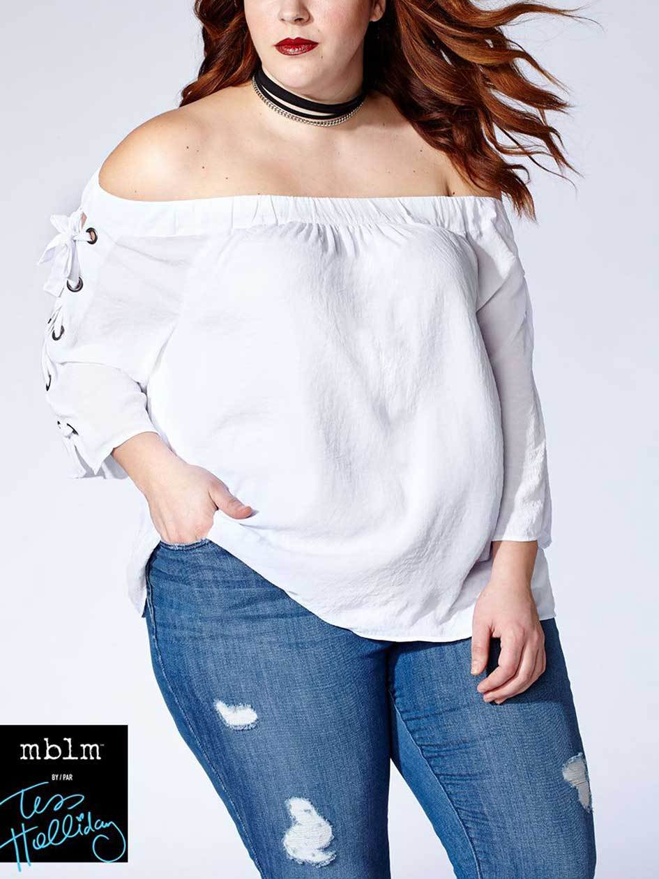 Tess Holliday - 3/4 Lace Up Sleeve Off Shoulder Top
