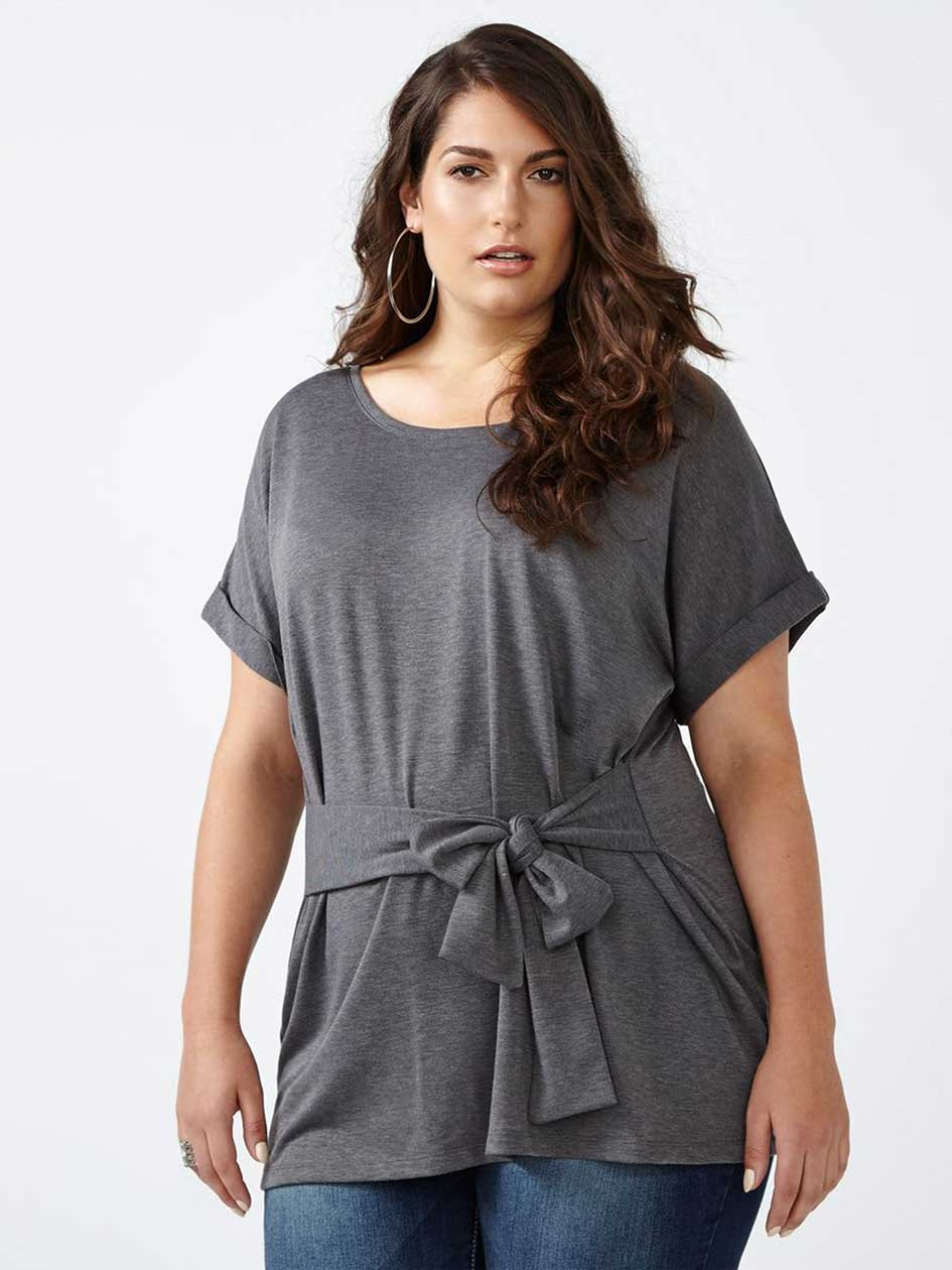 Short Sleeve Top with Knotted Belt