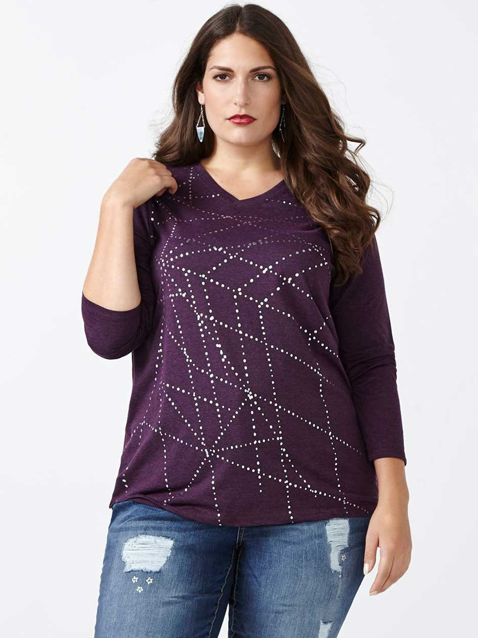 Curve Fit Long Sleeve Printed T-Shirt