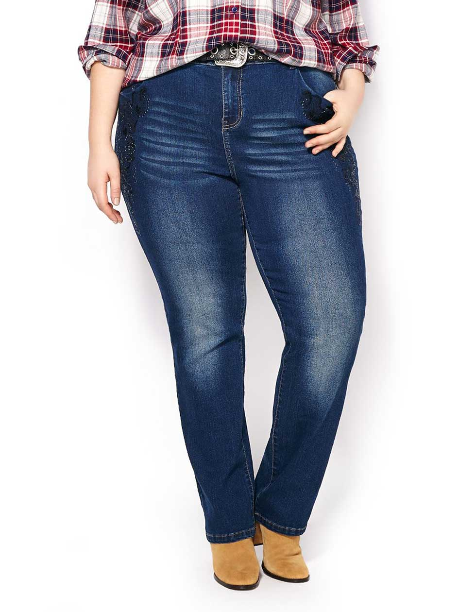 d/c JEANS Slightly Curvy Fit Straight Leg Jean with Embroidery