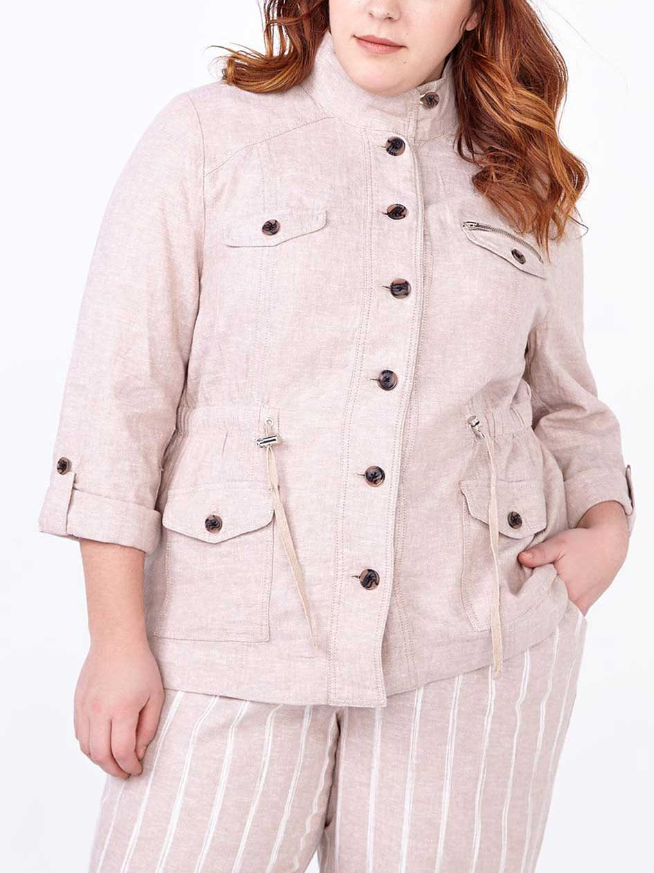 3/4 Sleeve Button Up Linen Jacket
