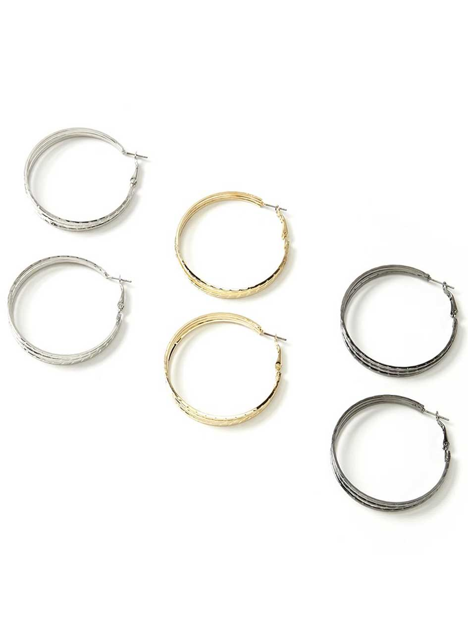 Set of 3 Hoop Earrings