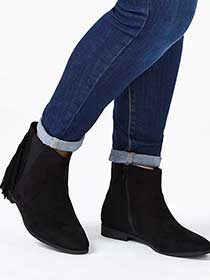 Wide-Width Flat Booties with Fringe
