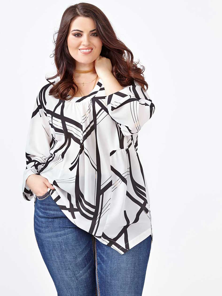 MELISSA McCARTHY Long Sleeve Printed Sharkbite Blouse