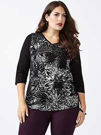 Curve Fit 3/4 Sleeve Printed T-Shirt