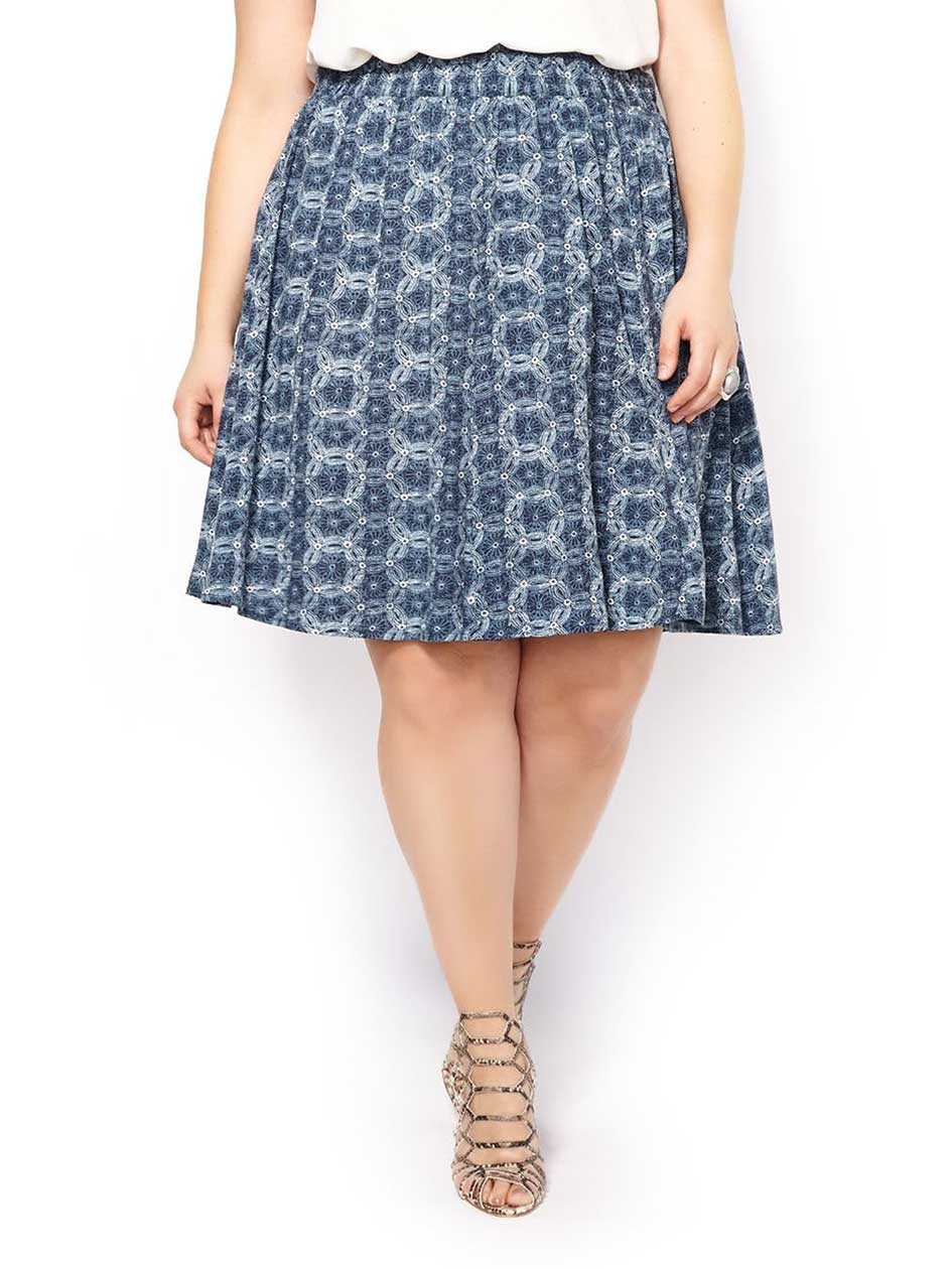 Printed Smocked Skirt