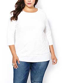 Shaped Fit 3/4 Sleeve Lace Front T-Shirt