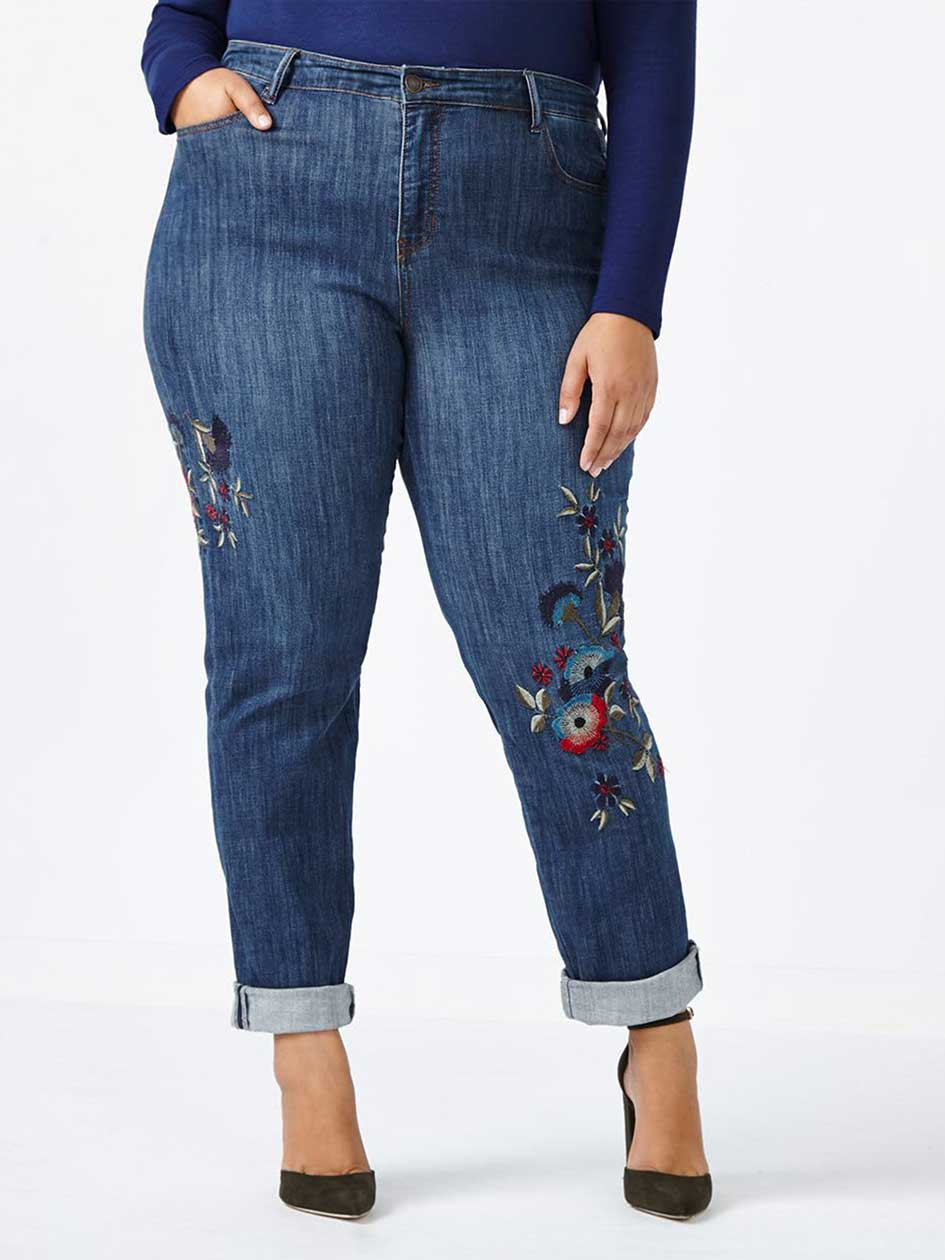 ONLINE ONLY - d/c JEANS Tall Slightly Curvy Fit Embroidered Straight Leg Jean