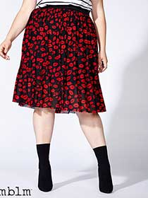 mblm Printed Pleated Skirt