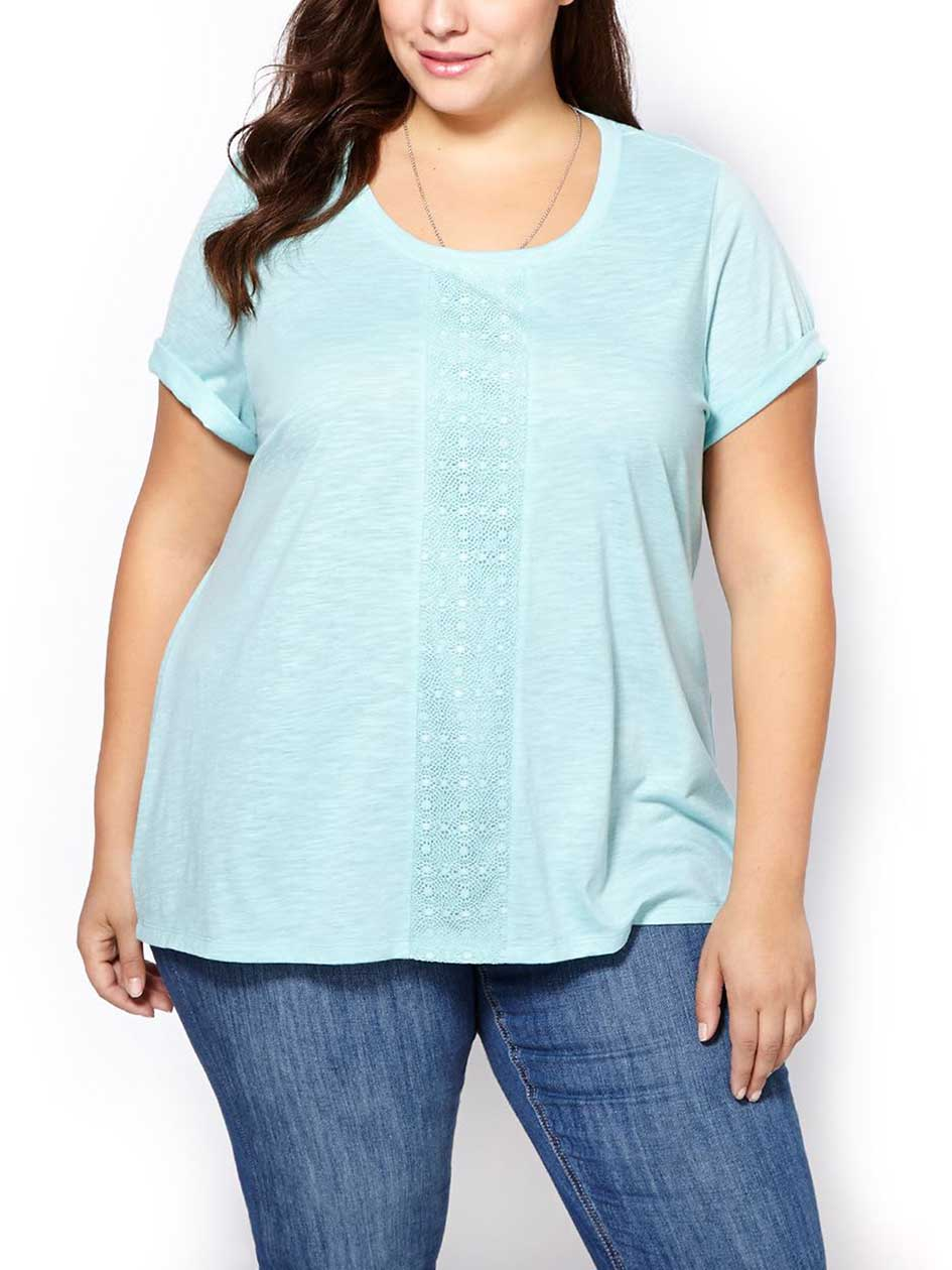 Relaxed Fit Lace Front T-Shirt
