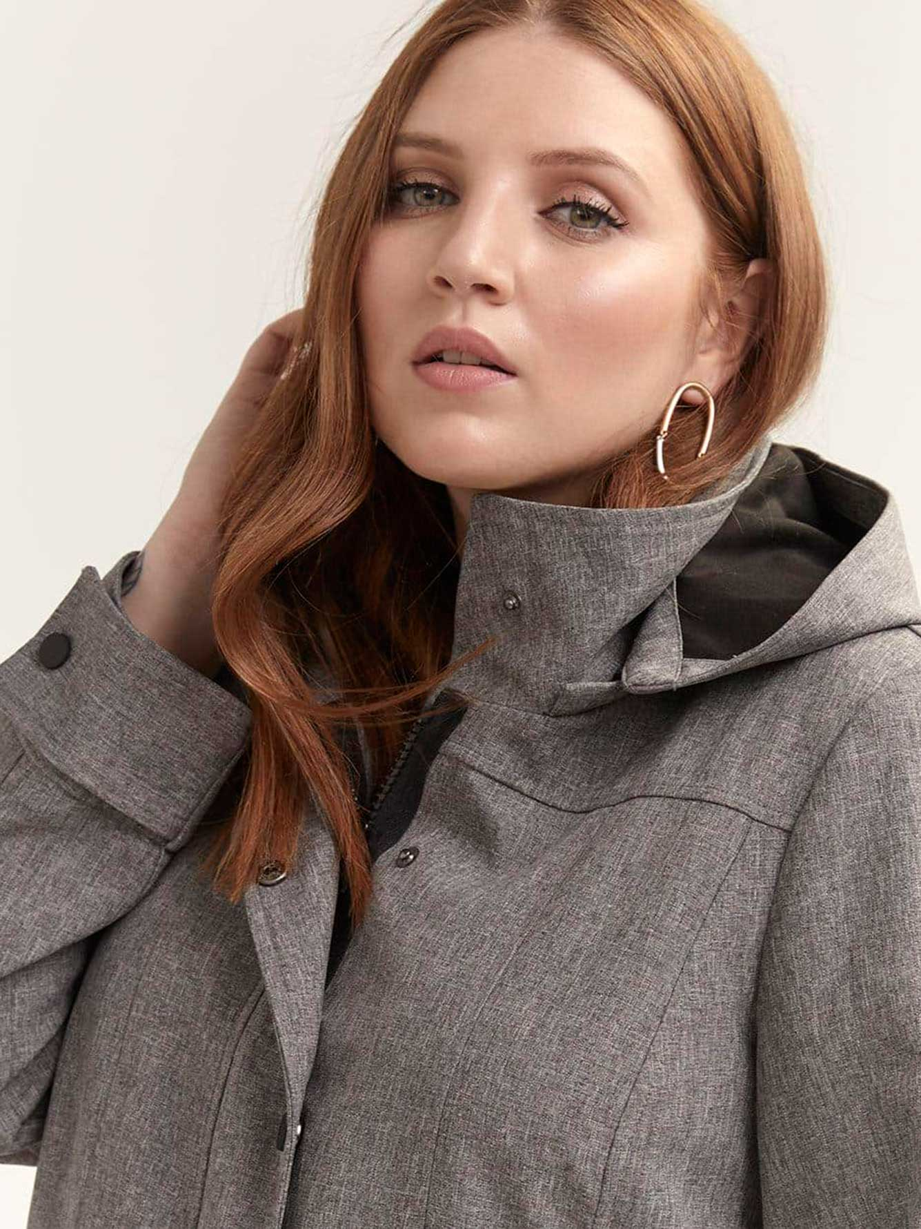 Long Soft-Shell Jacket with Removable Hood - Michel Studio