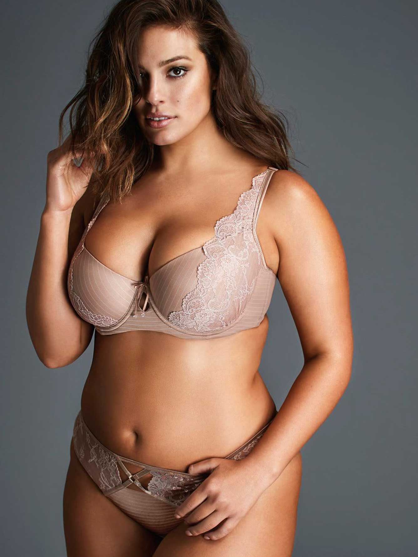 Ashley Graham Lace and Striped Diva Demi Cup Bra