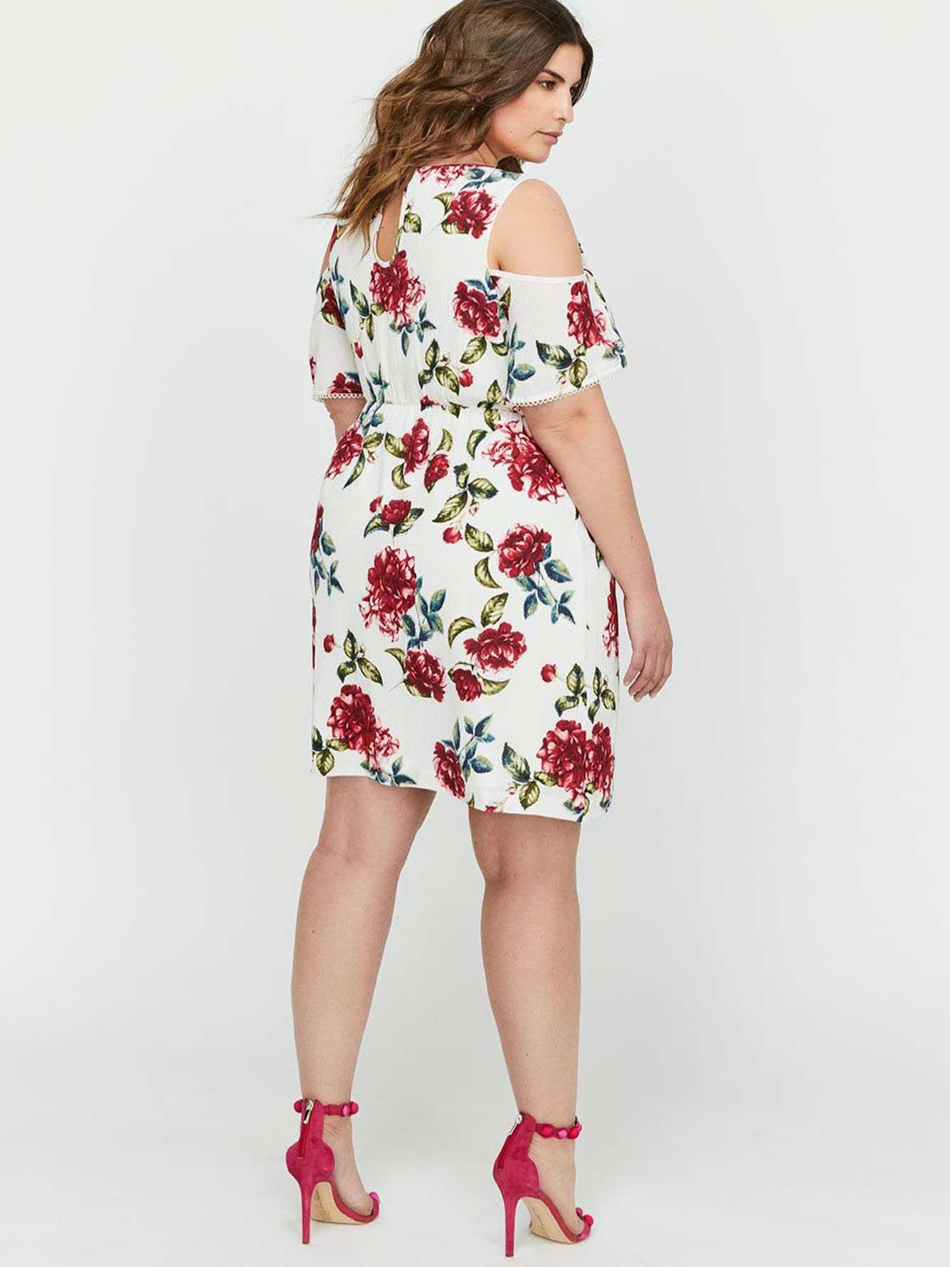 8db7f6b9e5c9 Michel Studio Cold Shoulder Fit & Flare Printed Dress | Addition Elle