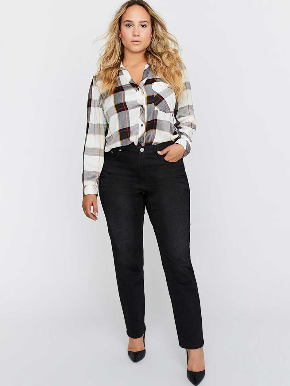 Open Collar Plaid Blouse - L&L