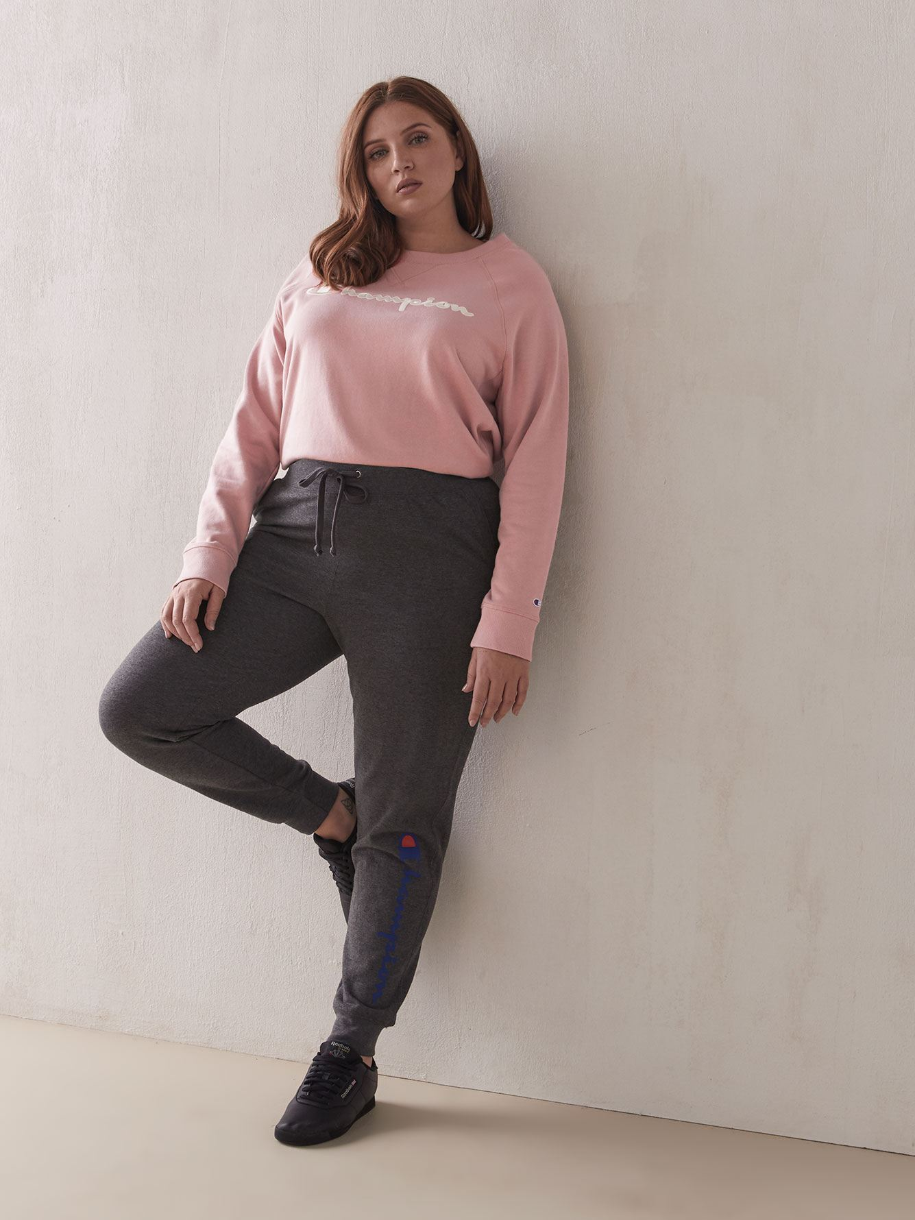 French Terry Crew-Neck Pink Sweatshirt - Champion