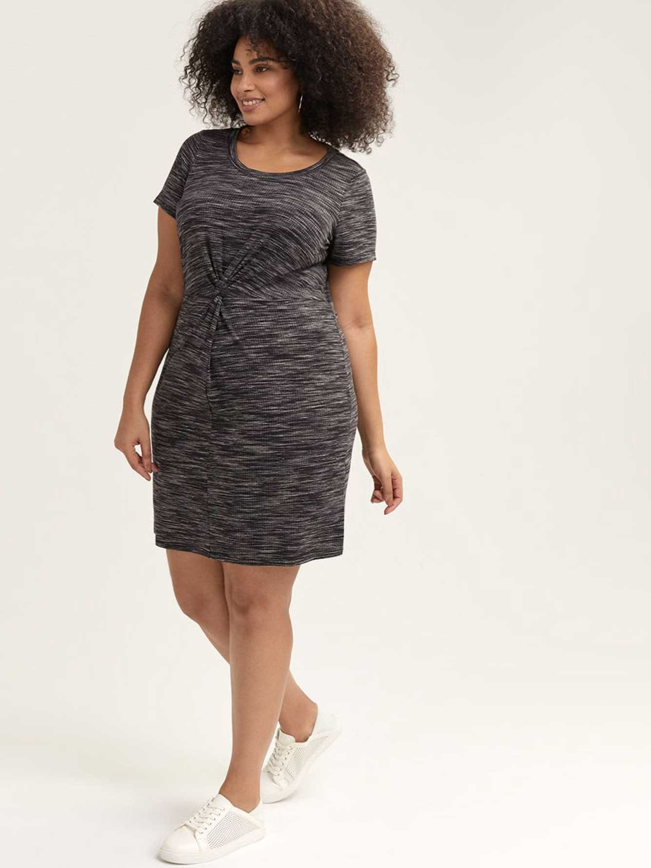 Ribbed Dress with Front Twist - Michel Studio
