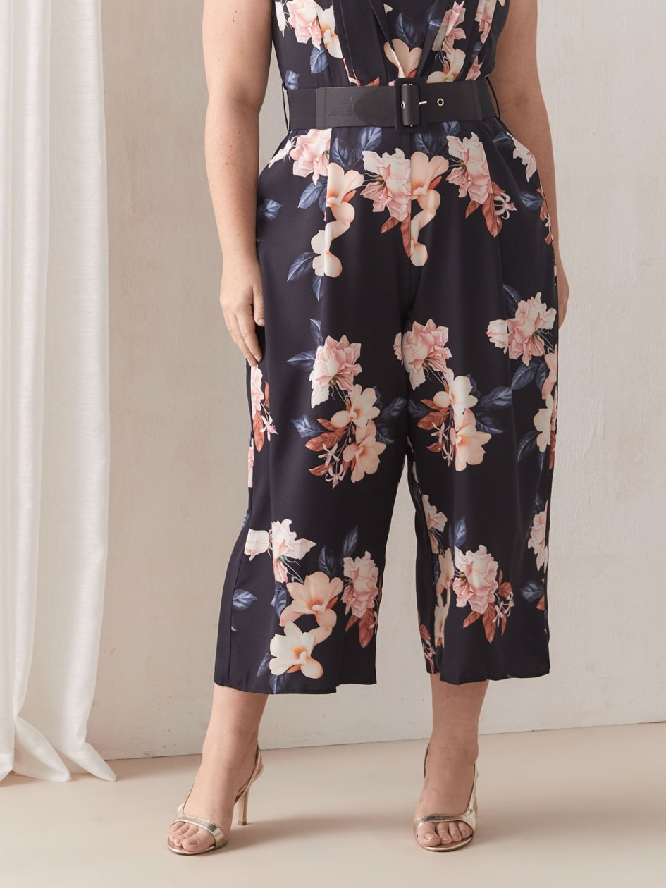 Belted Floral Jumpsuit - City Chic